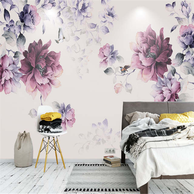 Flower Wallpaper Black And Purple Wallpaper Photo Wall Murals Girls Bedroom  Wallpaper Home Decor Ideas Home