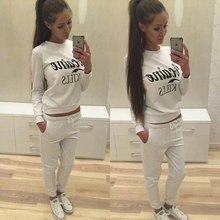 Hot Sale Solid O-neck Letter Print Long Pant Suits For Women Sex Running Set Brand Tracksuit Hoodies Sport Suit