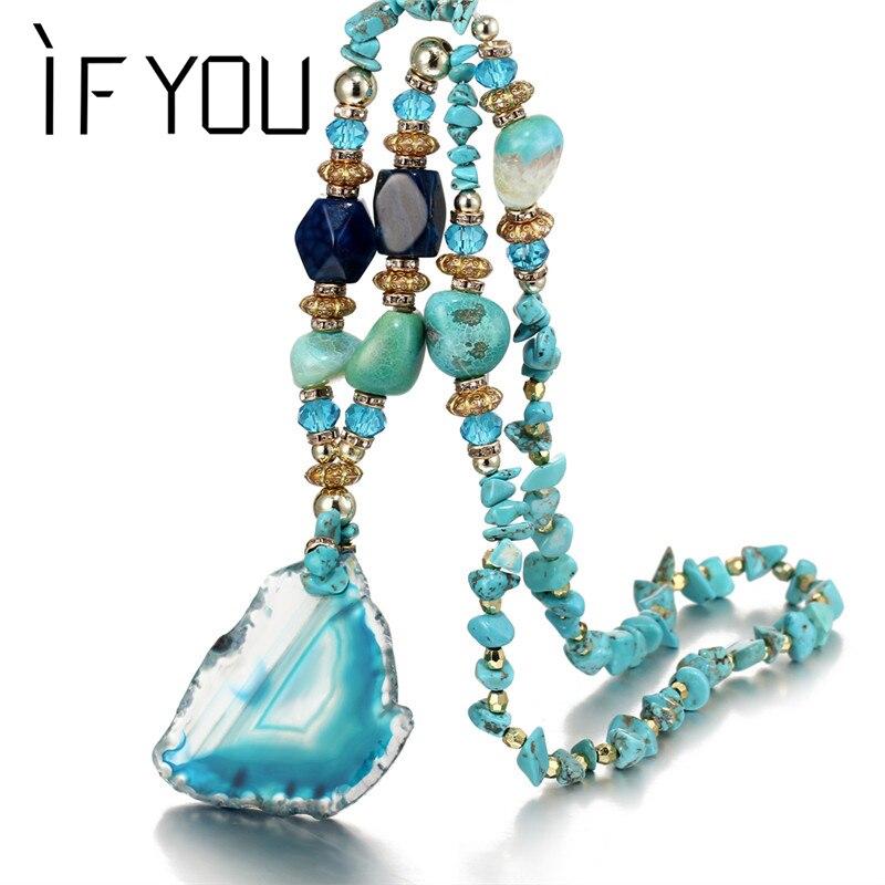IF YOU Retro Bohemia Multicolor Stone Water Drops Necklace For Woman Alloy Round Irregular Big Pendant Necklaces Fashion Jewelry retro alloy sand clock pendant necklace