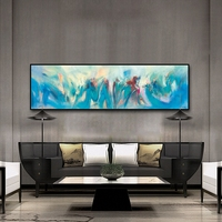 HAOCHU Blue White Psychedelic Abstract Shading Watercolor Blush Oil Canvas Painting Colorful Pictures Wall Poster Home