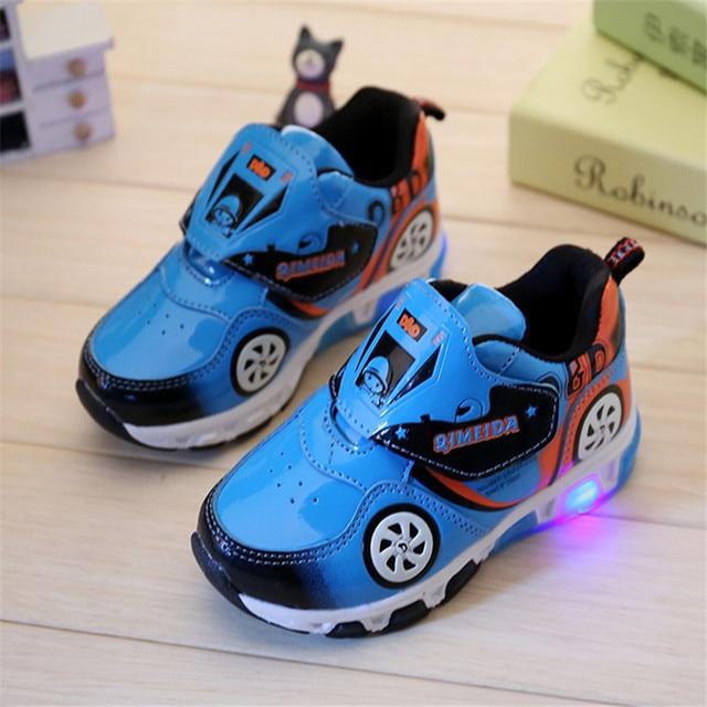 Kinderschoenen Met Lichtjes Maat 23.Fashion Kids Sneakers Jongens Cartoon Auto Kinderen Schoenen Met