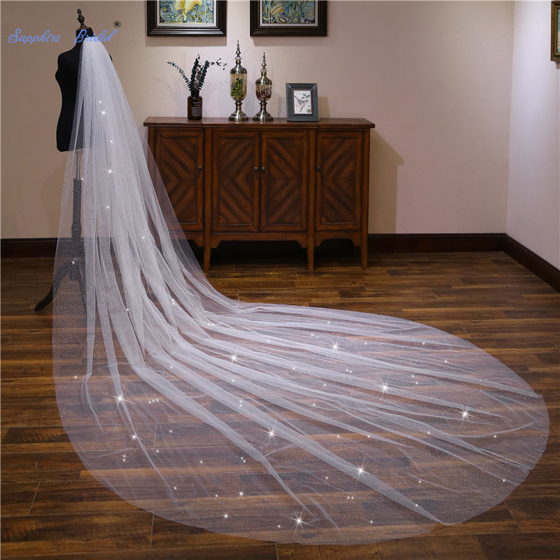 Sapphire Bridal Wedding Accessories 4m Long Sequins Cathedral Wedding Veil Velo De Novia 1 Tier Cut-edge Bridal Veil With Comb