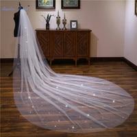 Sapphire Bridal Wedding Accessories 4m Long sequins Cathedral Wedding Veil Velo De Novia 1 Tier Cut edge Bridal Veil with Comb
