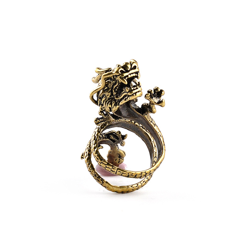 Fashion Gold Men Ring  Exaggerated Spirit Dragon Ring Personality Adjustable Split Ring Punk Hip Hop Male Female Jewelry Gift 2