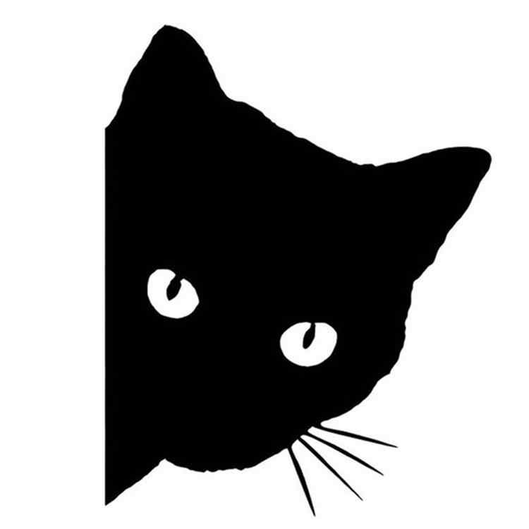 12x15cm cara de gato del coche etiqueta del animal doméstico lindo coche camión ventana parachoques pared pegatina reflectante coche pegatina gato Auto etiqueta