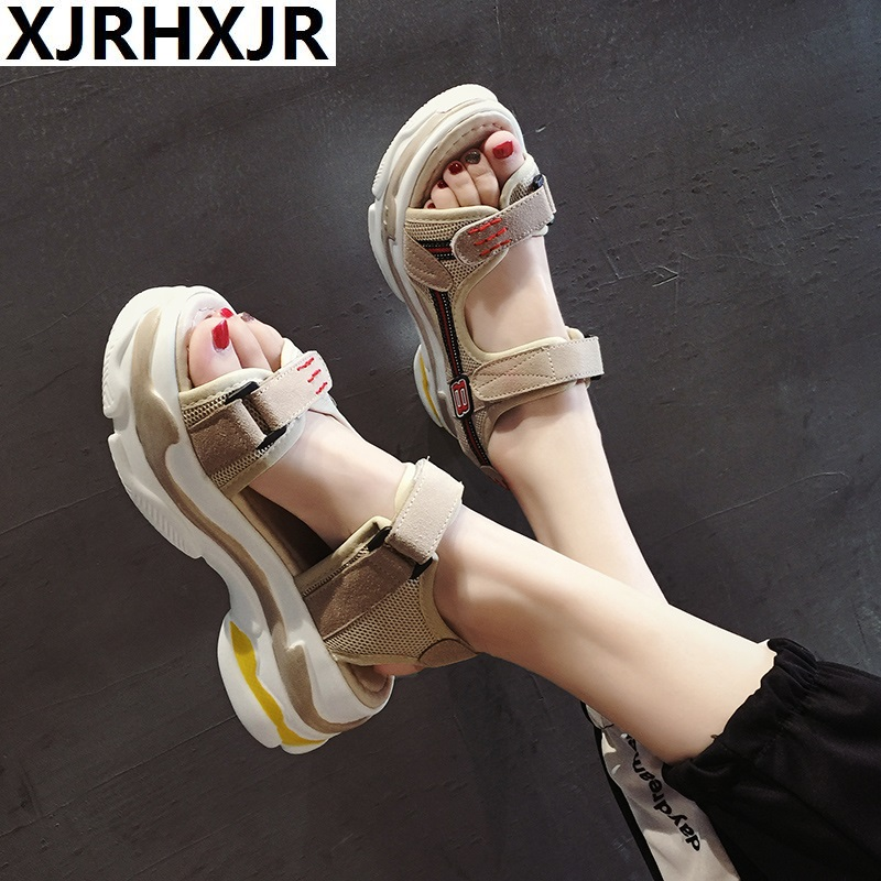 XJRHXJR 2019 Brand Casual Summer Women's Sandals Fashion High Heel Platform Open Toes Women Sandals Wedges Thick Soled Shoes