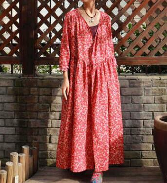 Women s Vintage Floral Print Irregular Hem Linen Cotton Dresses plus size cloths wholesale np96