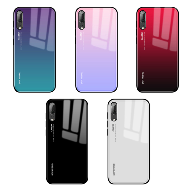 Gradient P20 Pro Tempered Glass Back Cover For Huawei P20 P20 Lite Colorful Silicone Bumper Case for Huawei Mate 20 Lite 20 Pro