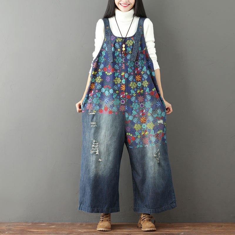 Women Denim Jumpsuits Print Floral Vintage New Plus Size Women Clothes Casual Quality Hole Wide Leg Jumpsuits Bright In Colour Women's Clothing Jeans