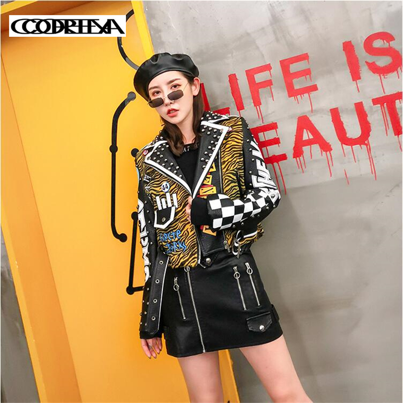 Europe Tide brand Printed Letters Zebra pattern Coats Rivet   Leather   Jacket Women Punk Moto Coat Faux Jacket PU Belt Slim Jackets