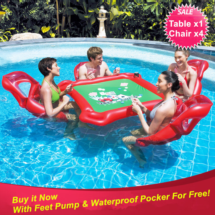 Beach Party Inflatable Toy Pool Float Large Floating Pocker Table And 4 Chairs For Texas Hold
