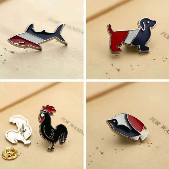 MINI dog Brooches Pin Up Jewelry For Women Suit Hats Men's suits badge dachshunds Cock Brooch fish Pins Badges Bijouterie gifts