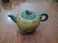 Old Chinese Handcraft Enameled YiXing Zi Sha Clay (blue stoneware) Teapot ,Frog & Lotus,no 60,with mark,Free shipping