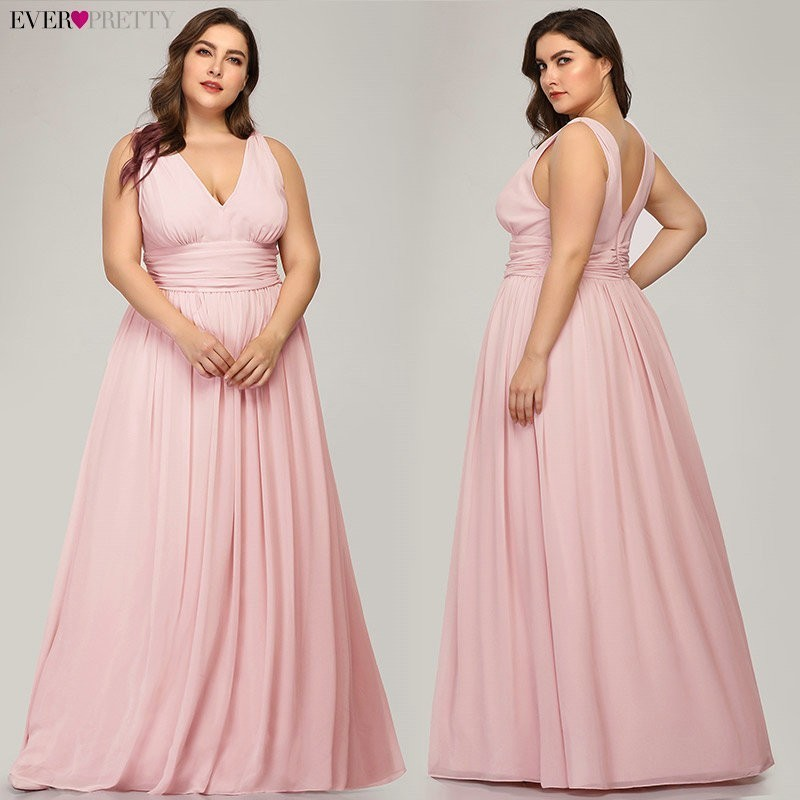 Ever Pretty Plus Size Bridesmaid Dresses 2020 Vestidos Elegant A Line V Neck Backless Long Chiffon Wedding Party Gowns EP09016