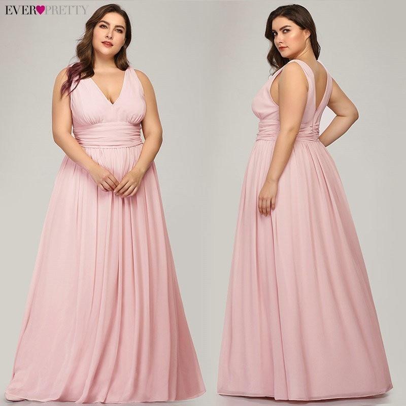 Ever Pretty Plus Size Bridesmaid Dresses 2020 Vestidos Elegant A Line V Neck Backless Long Chiffon Wedding Party Gowns EP09016