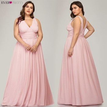 Ever Pretty Plus Size Bridesmaid Dresses 2020 Vestidos Elegant A Line V Neck Backless Long Chiffon Wedding Party Gowns EP09016 pink bridesmaid dresses plus size ever pretty elegant a line v neck short sleeve chiffon long wedding party dress women vestidos