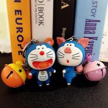 Cartoon silicone Doraemon keychain creative men and women cute doll bell car pendant key chains keyring