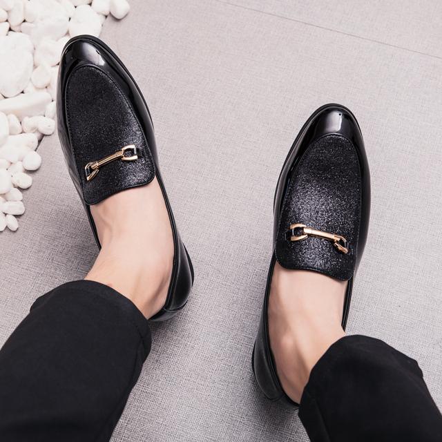Men's Black Leather Slip-On Loafers