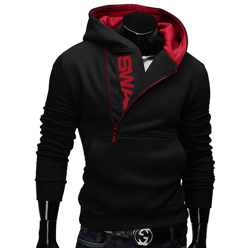 Side Zipper Hoodies Men Cotton Sweatshirt Spring Letter Print Sportswear Slim Pullover Tracksuit Hip Hop Street wear 14