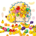 82pcs Wooden Toys Hedgehog Fruit String of Beads Blocks Child Hand Eye Coordination Fine Skills Development Educational Toy