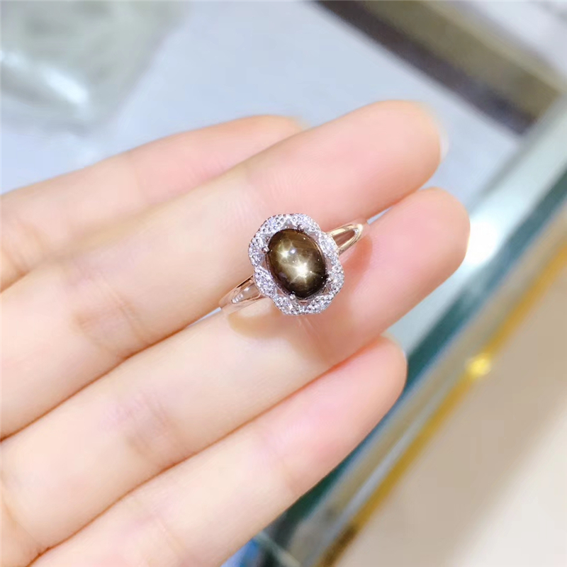 Bague élégante en saphir étoile naturelle WEAINY, véritable argent Sterling S925, bijoux de qualité supérieure pour anniversaire de fête de pierres précieuses pour femme - 2