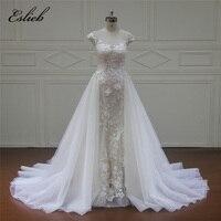 Eslieb Customed Luxuary Real Photo Sexy Wedding Dress 2018 Flower Lace Wedding Gown Vestido De Noiva