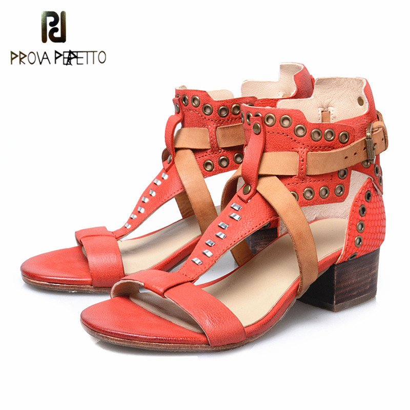 Prova Perfetto 2018 Summer Retro Style Women Sandals Genuine Leather High Heels Sheepskin Peep Toe Rome Fashion Sandals Female rome style genuine leather 9 5cm thick heels women sexy sandals 2016 black peep toe long bandage tassel fashion summer shoes