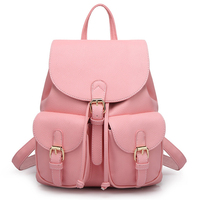 Women Backpack Leather Women Bags School Bags For Girls Feminima Teenager Backpack Candy Color Pink High Quality Bolsas Mochila