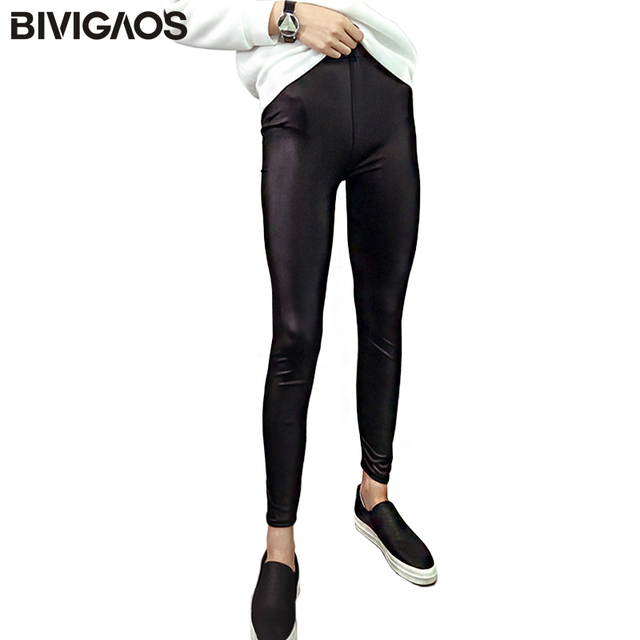 a15fb6cc128f2c BIVIGAOS Women Skinny Slim Leggings Breathable Matte Black Sexy Faux  Leather Leggings Pants Elastic Legging Feminina