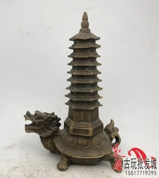 Antique Brass dragon turtle Wenchang tower decoration