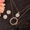 Frete Grátis gold filled Cristal Austríaco Clássico Oco 48 cm pingente de colar conjunto de jóias brincos TH390