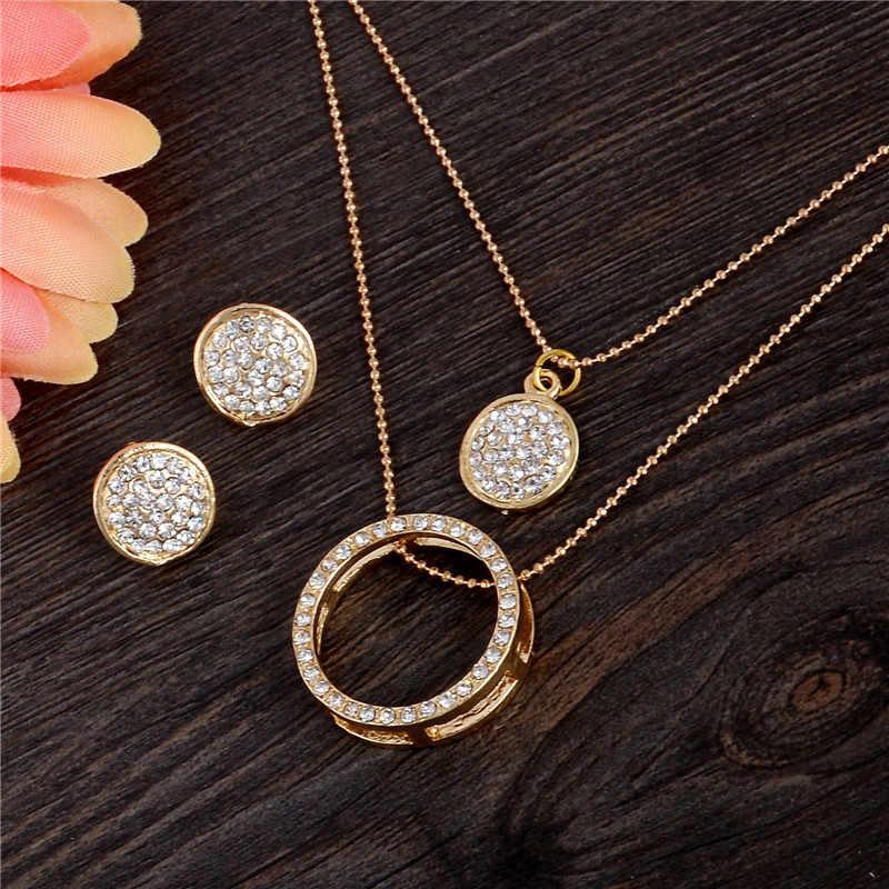 SHUANGR złoty kolor austriacki kryształ klasyczny Hollow okrągły 48cm naszyjnik wisiorek kolczyki zestaw biżuterii TH390