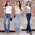 2017 New Women High Waist Cotton Jean Stretch Denim Pant Femme Pants Plus Size Calca Trouser Female Denim Flare Jeans C599