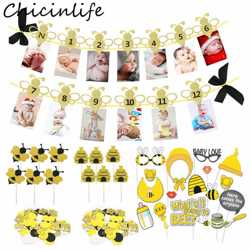 Chicinlife Bee Series 12 Months Photo Banner Cupcake Toppers Photo Booth Props Confetti Balloon Kids 1st Birthday Party Supplies