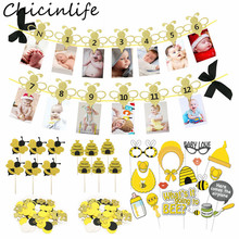 Chicinlife Bee Series 12 Months Photo Banner Cupcake Toppers Booth Props Confetti Balloon Kids 1st Birthday Party Supplies
