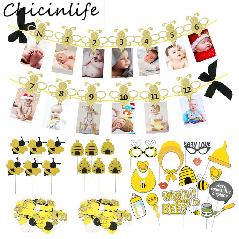 Chicinlife <font><b>Bee</b></font> Series 12 Months Photo Banner Cupcake Toppers Photo Booth Props Confetti Balloon Kids 1st Birthday <font><b>Party</b></font> <font><b>Supplies</b></font> image