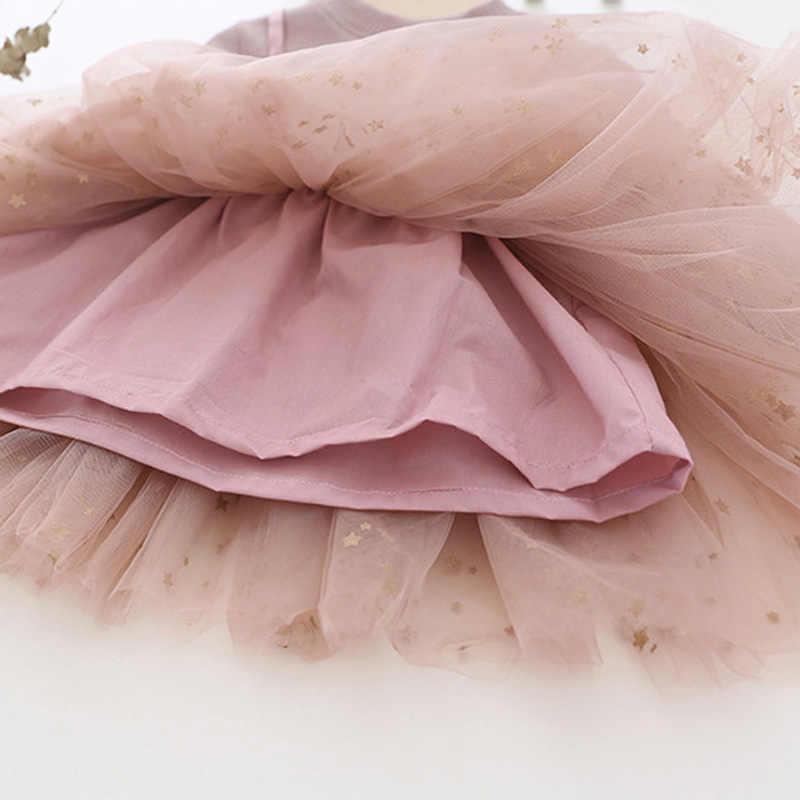 תינוקת שמלת 2019 חדש נסיכת ילדה בגדי שרוול ארוך נצנצים טוטו כדור שמלת מפלגה שמלות תינוק ילד בנות בגדים BC510