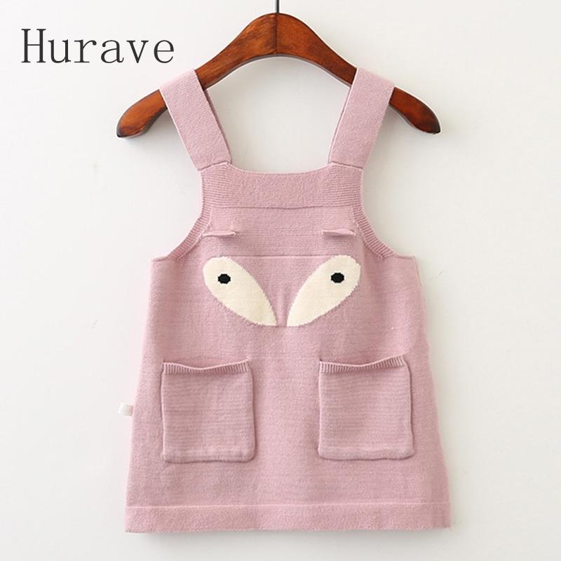 Hurave Girls Dress 2017 Infantil Kids Eye Dress New Autumn Brand Baby Sweater Printed Dresses Children Clothing Dress термос brand new fun garrafa termica infantil termico af808