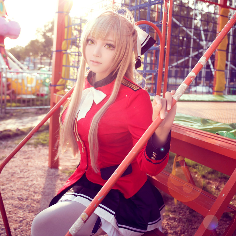 Amagi Brilliant Park Sento Isuzu Cosplay Uniform Set Red Coat and Black Mini Skirt With Bowknot Japanese Uniform Anime Cosplay
