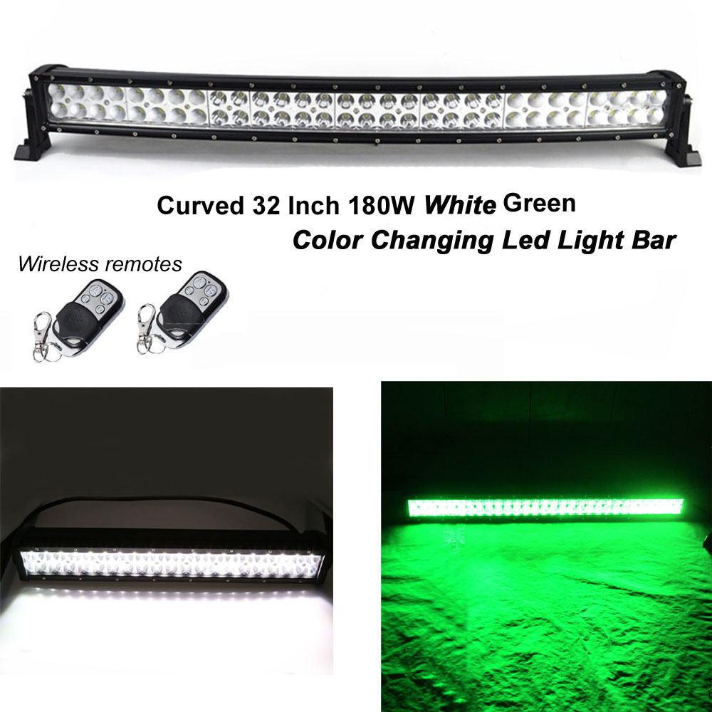 Honzdda 32 Inch 180W White Green Led Color Changing Strobe Emergency Light Bar 9 Flashing Modes Offroad Led Fog Light Bar 12V