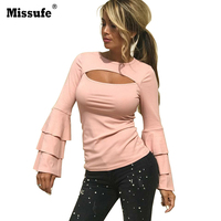 Missufe Layered Flare Sleeve T Shirt Sexy Front Cut Hollow Out Slim Tops Vintage Wear Tee