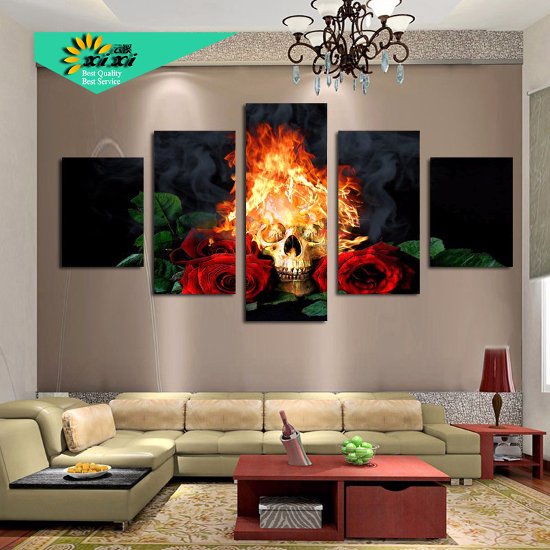Buy fire skull red rose home decor wall for Paintings for house decoration