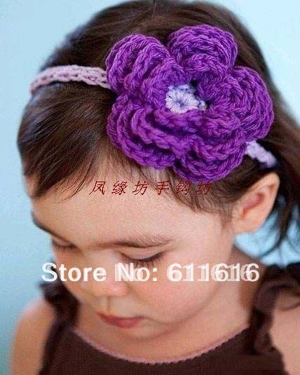 Freeshipping So Cool Big Crochet Fower Headband Knitting Flower