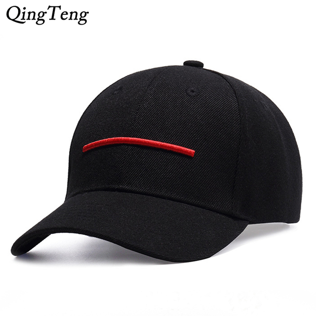 73a0623d806 2018 New Cap Men Embroidery Red Line Dad Hat Black Casual Women Baseball  Caps Adjustable Gorras Snapback Fashion Brand Sun Hats