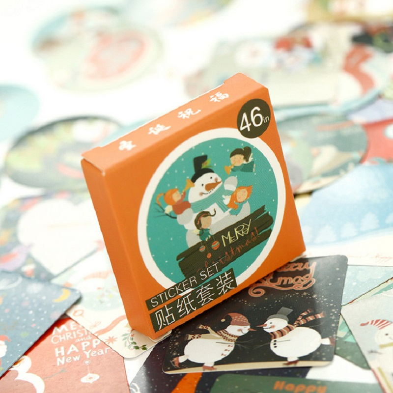 46 PCS/Set Merry Christmas Theme Sticker DIY Decoration Gifts Posted Package New Year Label Paper Sticker Diary Scrapbooking