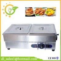 Лучшая цена коммерческих 220 V 2 Кастрюли электрическая Байн Мари Еда теплее с краном для Кухня прибор
