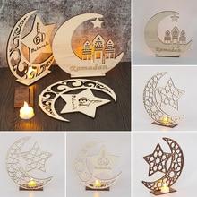 Мусульманские поделки из дерева Рамадан деревянный ИД Мубарак орнамент Лунная мечеть табличка подвесная подвеска праздничные вечерние принадлежности, домашний декор