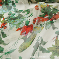 Green Flowers In Spring And Summer Dress 100 Wide Silk Georgette Skirt Scarf Cloth Fabric