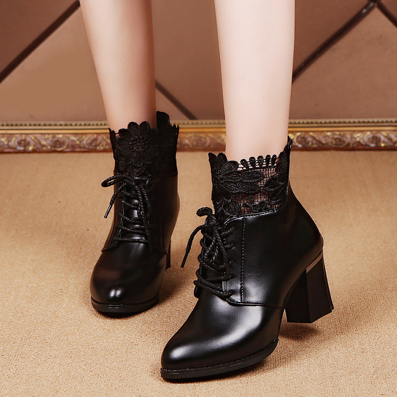 New Fashion Woman Round Toe Ankle Boots Women Lace Autumn Winter Boot Ladies Brand Zipper Genuine Leather Shoes Size 35-39 huizumei new genuine leather women s boots autumn and winter shoes retro handmade round toe soft bottom rubber ankle ladies boot