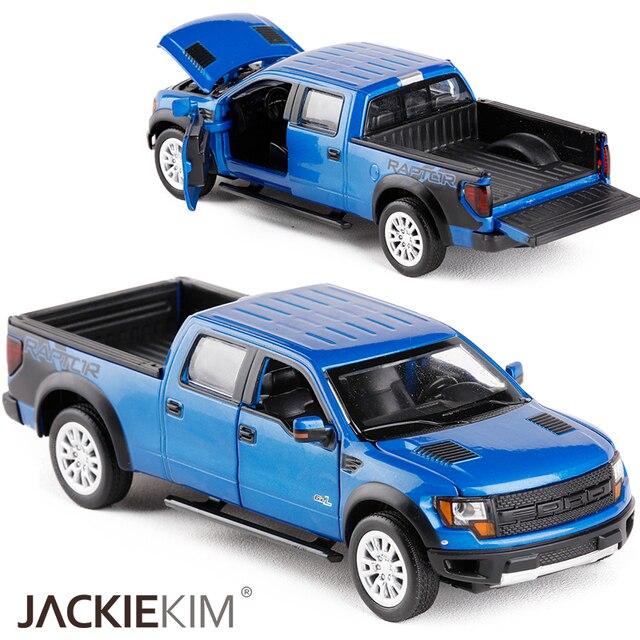 Simulasi Tinggi Mobil Klasik 1:34 Ford F150 Raptor Pickup Truk Paduan Mainan Mobil Berkedip Menarik Kembali Bayi Anak Mainan Koleksi